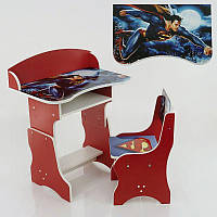 Парта пенал Супермен ЛДСП 69*45 см цвет красный, 1 стул (П 020)