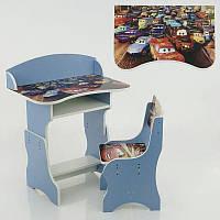 Парта пенал Тачки ЛДСП 69*45 см цвет синий, 1 стул (П 023)