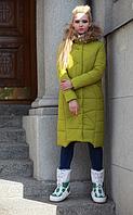 """Женское зимнее стильное пальто """"Дакота"""",енот натуральный"""