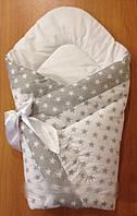 Конверт-одеяло демисезонный на выписку на липучке с красивым бантом (зимний, весенний, осенний), 90х90