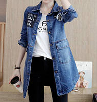Женская удлиненная джинсовая куртка  РМ7611