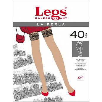 Чулки 40den Legs на силиконовых полоска с ажурной резинкой