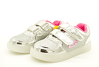 Светящиеся кроссовки для девочек серебристые 30 размер