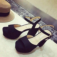 Женские черные босоножки на высоком толстом каблуке