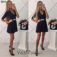 Черное молодежное платье с поясом, украшенным дорогими камнями