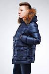 Подростковая стеганная куртка прямого силуэта с отстежным мехом, фото 3