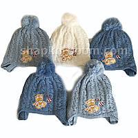 Детская зимняя вязанная шапка для грудничков на завязках оптом Украина