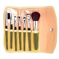 Набор из 7 кистей для макияжа в золотом чехле Beauties Factory Makeup Brushes - Gold Star Holder