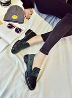 Замшевые зеленые лоферы женские