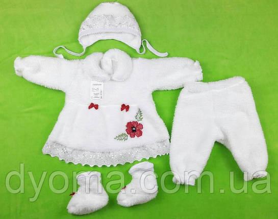 """Детский комплект на выписку или крещение """"Красный мак"""" (махра), фото 2"""