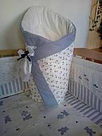 Конверт-одеяло на выписку на липучке с красивым бантом (зимний), 90х90- Морячек, фото 1