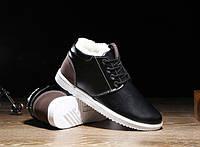 Мужские черные ботинки на меху
