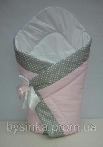 """Конверт-одеяло на выписку на липучке с красивым бантом (зимний), 90х90- """"Розовый горошек"""""""