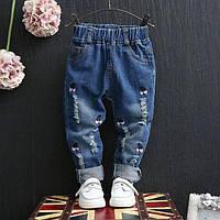 Джинсы детские для девочки плотный джинс Вишенки