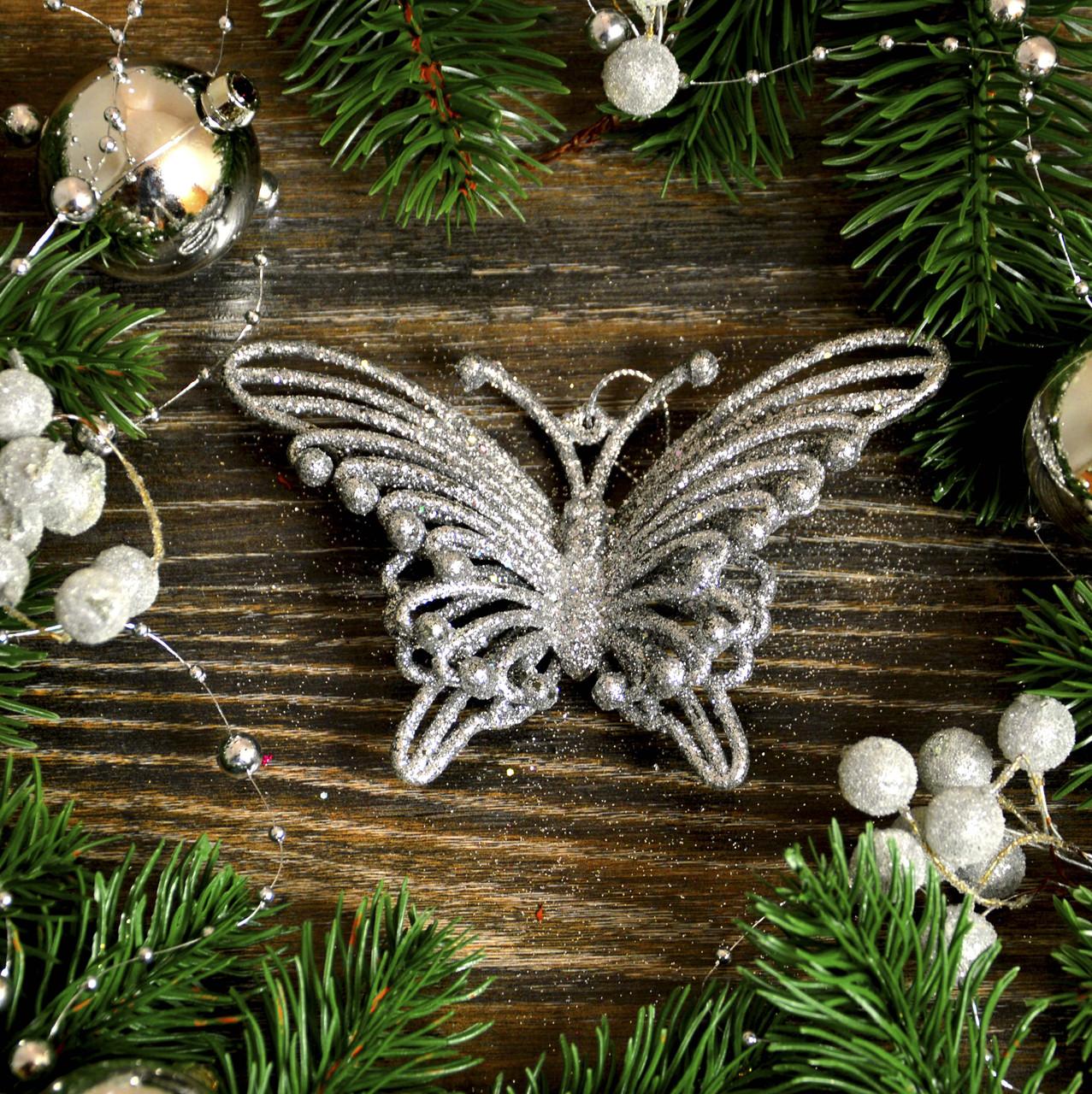 Новогоднее украшение Бабочка объемная серебро 0324