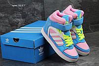 Женские кроссовки Сникерсы Аdidas голубые с розовым 3237