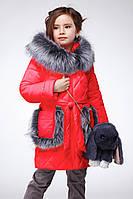Модная зимняя куртка Бетт для девочки стеганая под пояс