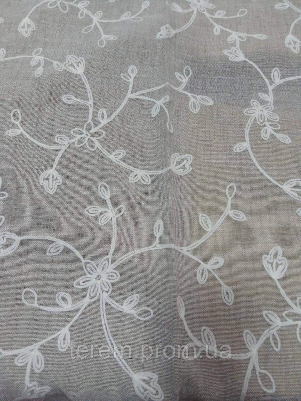 Ткань для штор полупрозрачная с вышивкой, под лен, 290см, Турция