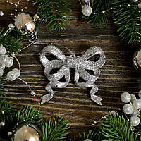 Новогоднее украшение Бантик маленький серебро 0330