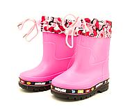 Сапоги резиновые розовые для девочек 27-35 размеры