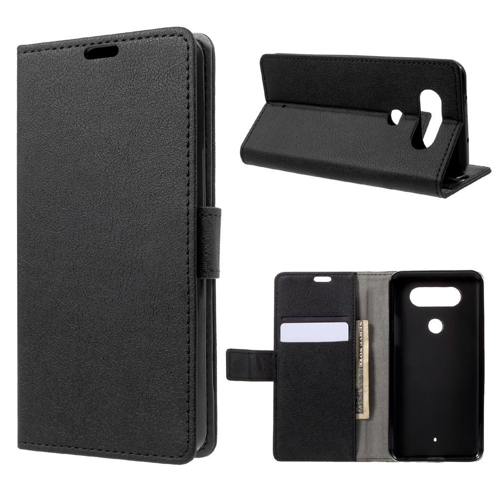 Чехол книжка для LG Q8 Н970 боковой с отсеком для визиток, черный