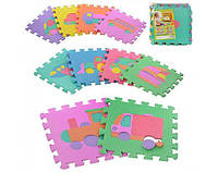 Игровой коврик пазлы – Мозаика «Веселая головоломка» Игровой коврик пазлы - транспорт