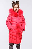 Красивое зимнее пальто для девочки  воротник с натуральной песцовой опушкой