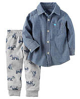 Набор штаны+рубашка Carters на мальчика 2-5 лет Button-Front Shirt & French Terry Jogger Set
