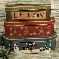 Новогодняя подарочная коробка 7723854-5 (комплект 3 шт)