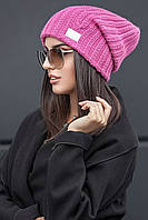 Женская осенняя вязаная шапка крупной вязки №191