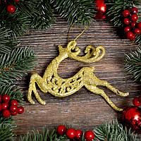 Новогоднее украшение Олень с узором золото 0337