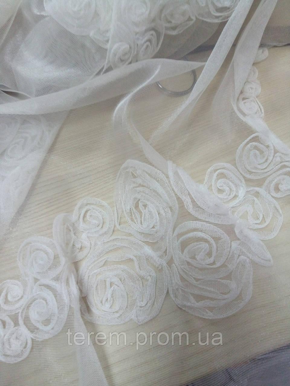 Тюль с аппликацией розы, 280 см, Турция