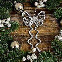 Новогоднее украшение Бант двойной серебро 0128