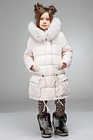 Очень теплая куртка на зиму Малика  воротник украшен натуральным мехом  разные цвета