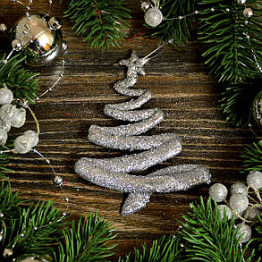 Новогоднее украшение Елка модерн серебро 0126, фото 2