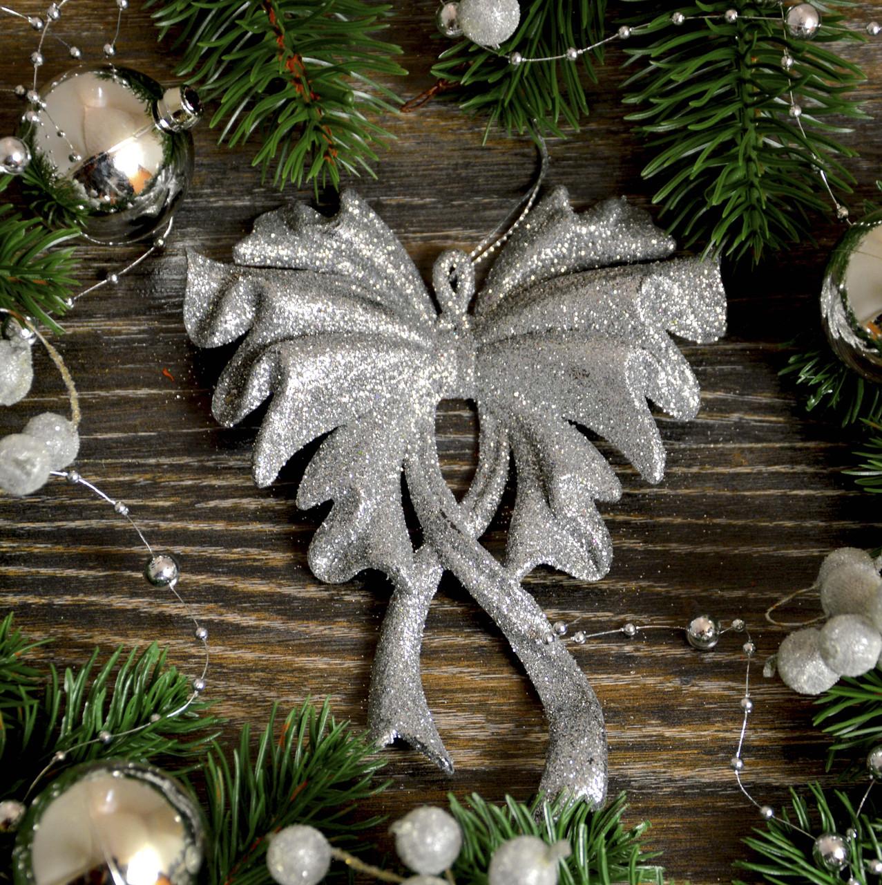 Новогоднее украшение Бант большой серебро 0129