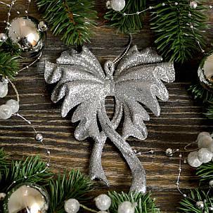 Новогоднее украшение Бант большой серебро 0129, фото 2