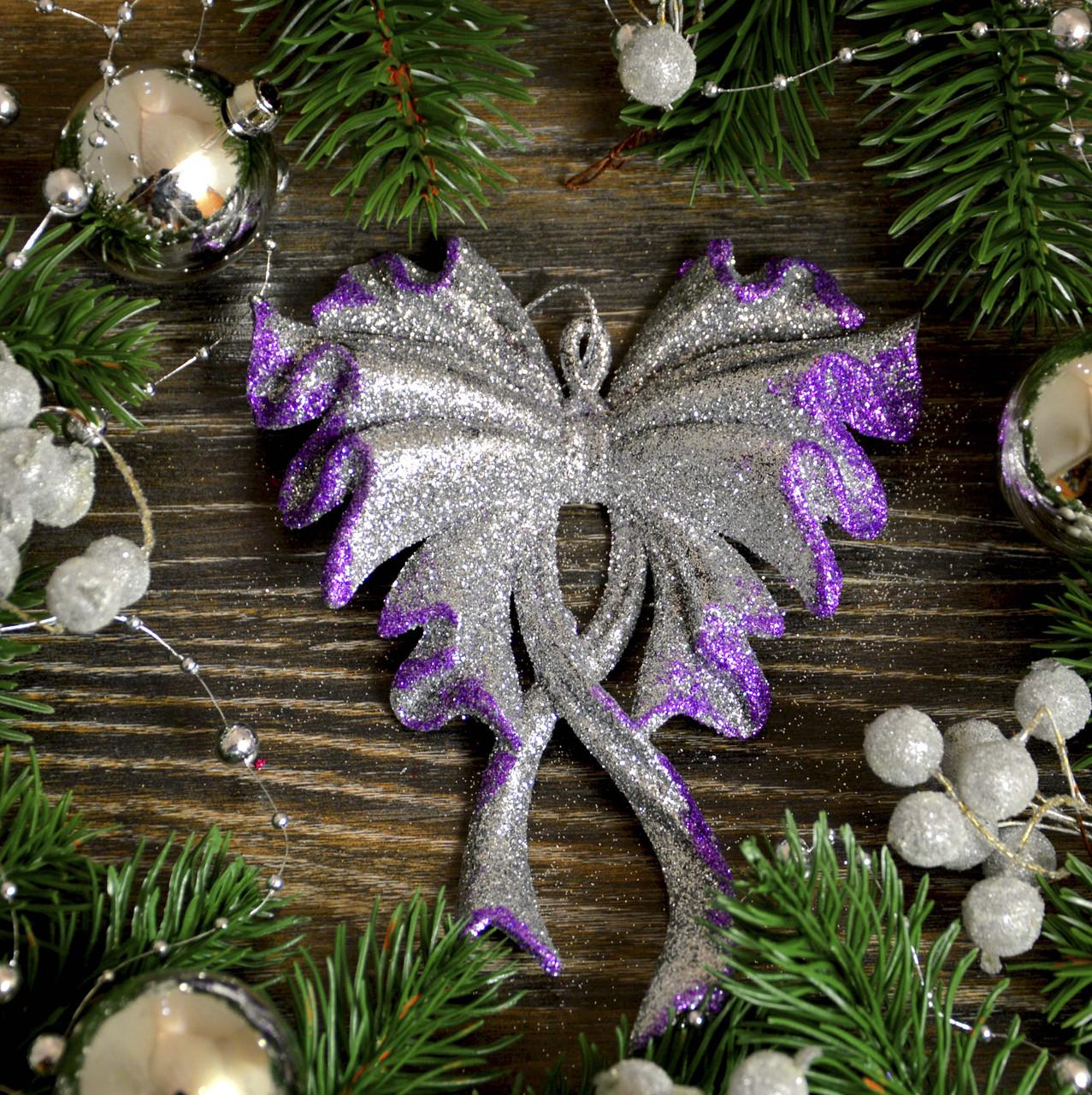Новогоднее украшение Бант большой микс 0345