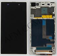 Дисплей (LCD) Sony C6902 L39h Xperia Z1 (6903/  6906/  6943) с сенсором белый + рамка оригинал