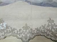 Тюль с вышитым кантом снизу, 280 см, Турция