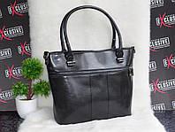 Кожаная сумка в деловом стиле черная