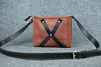 Кожаная женская сумка Крестик кросс-боди   Винтажный Коньяк, фото 1