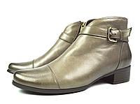 Бежевые женские осенние кожаные ботинки Miss Emilia на низком каблуке