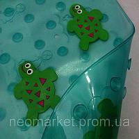 Детский антискользящий коврик на дно ванной прозрачный матовый с оттенком Черепашки с массажными вставками