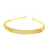 Обруч для волос  золотой металл/ стразы 2 ряда- ширина 1,0 см,Ø 13 см