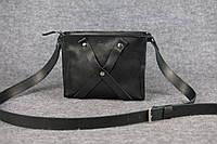 Кожаная женская сумка кросс-боди Крестик | Черный Краст, фото 1