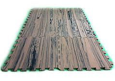 Модульный пол-пазл «Тёмноедерево» 200x150 см, 12 элементов