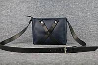 Кожаная женская сумка Крестик через плечо | Синий Винтаж, фото 1