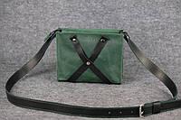 Кожаная женская сумка Крестик кросс-боди | Зеленый Винтаж, фото 1