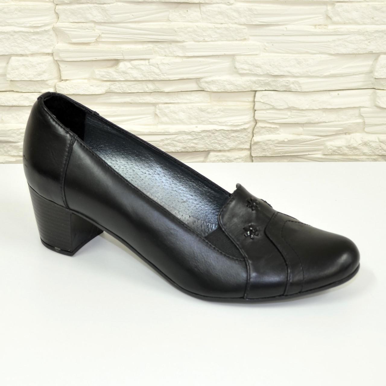 Туфли женские кожаные на каблуке декорированные камнями купить и ... b1537ecbf92